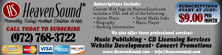 Need help promoting your ministry today?  We can help by providing you with another presence on the internet in the form of an artist webpage, complete with all your booking information, social media links and music clips.  Call us today!